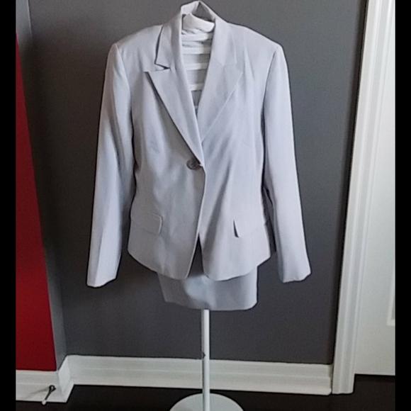 Light grey, mini skirt suit